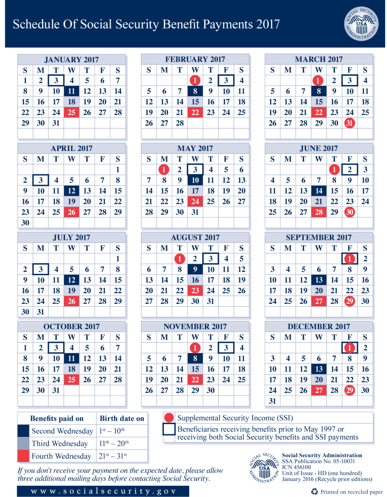 2017 Social Security Payment Schedule