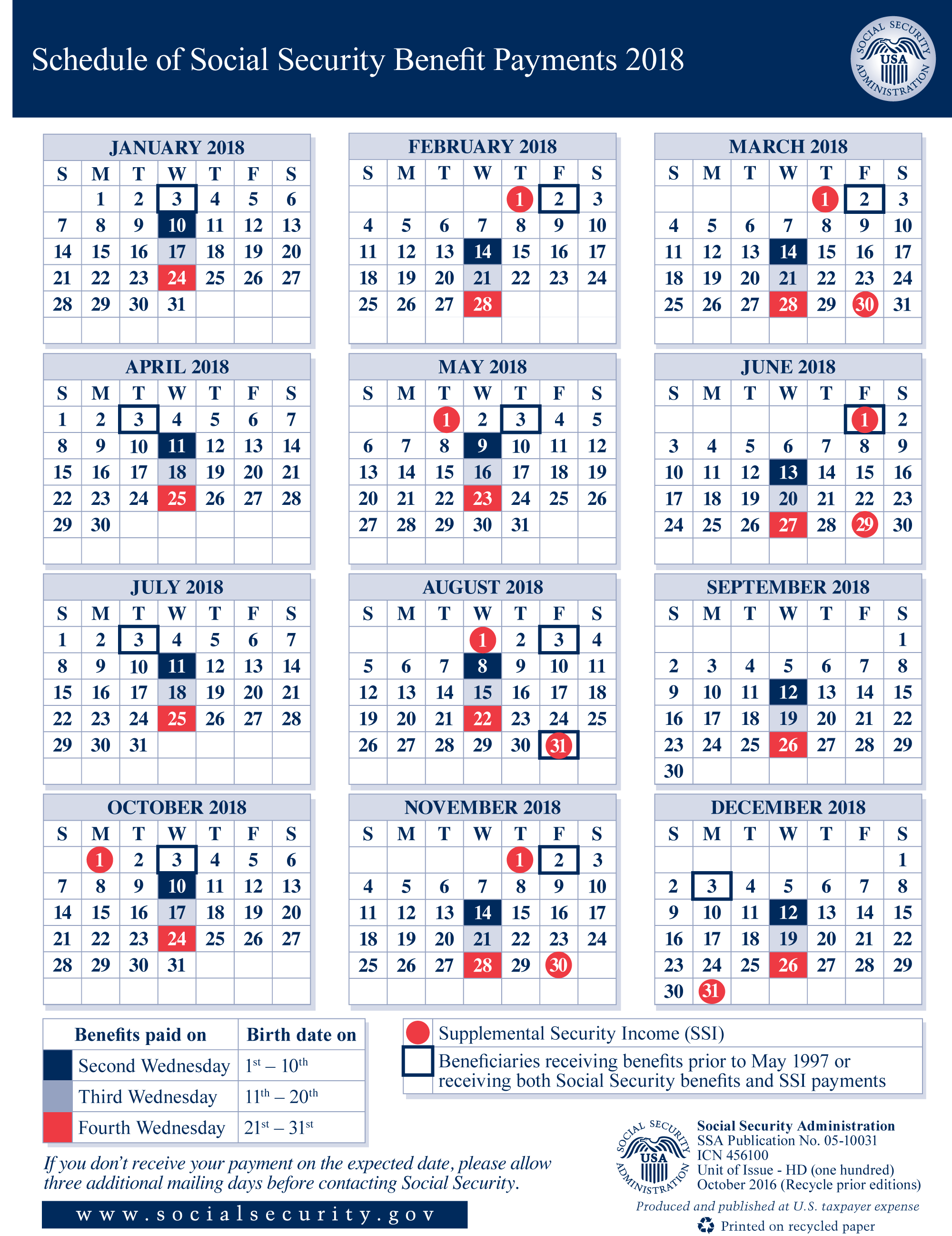 2018 Social Security Payment Schedule | Shifrin Newman Smith